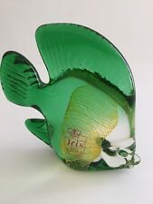IRIS HANDMADE CZECHOSLOVAKIAN BOHEMIAN GLASS GREEN FISH PAPERWEIGHT/ORNAMENT