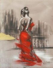 Handcraft impression Portrait Oil Painting on Canvas,Red dress woman art 24x36