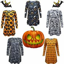 New Women Halloween Orange Black Swing Dress Spider Web Pumpkin Bats Skull Print