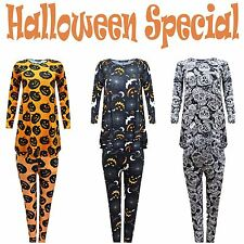 Ladies Halloween Orange Black Full Costume Spider Web Pumpkin Bats Skull Print