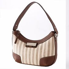 Chaps by Ralph Lauren Salerno Natural Stripe Signature Buckle Tweed Hobo Purse