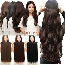 Long Straight Curly 3/4 Full Head Clip in Synthetic Hair Extensions Real As Remy