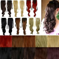 Casual Style Fluffy Long Straight Wavy Ponytail Clips in on Hair Extensions ns39