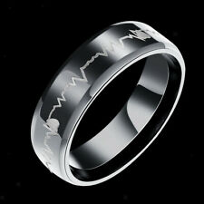Stainless Steel Heartbeat Comfort Fit Ring Wedding Band Laser Forever Love