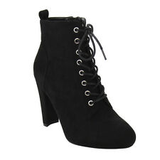 Wild Diva Lounge Women's Lace Up High Block Heel Ankle Bootie BLACK BURGUNDY