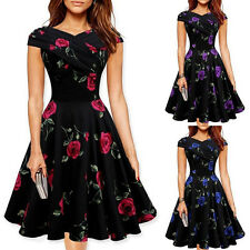 Womens Vintage Floral Bodycon Pleated Prom Gown Cocktail Party Mini Tunic Dress