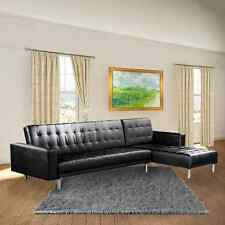 PU Leather 5 Seater Sofa Bed Lounge Couch Futon Suite Chaise Modular Set - Black