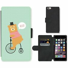 Phone PU Leather Wallet Case For Apple iPhone Funny Bear Riding A Bycicle