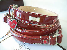 NEW COACH SET RED PATENT LEATHER HEARTS BONES SMALL DOG COLLAR & SMALL LEASH