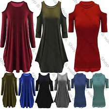 New Womens Ladies High Low Hem Shoulder Cut Out Sleeves Tunic Tee T Shirt Top