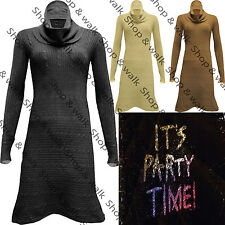 Womens Ladies Cowl Baggy Neck Knitted Flared Long Jumper Midi Dress Tunic Top