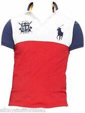 New Polo Ralph Lauren Big Pony Custom Fit Color Blocked Mesh Rugby Polo Shirt