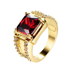 Red Ruby Square Band Women's 10Kt Yellow Gold Filled Wedding Ring Size 6-12