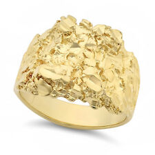 Large 21mm 14k Yellow Gold Heavy Plated Chunky Nugget Textured Ring