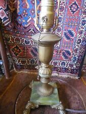 VINTAGE BRONZE BRASS TABLE LAMP WITH MARBLE BASE & BRASS FINIAL