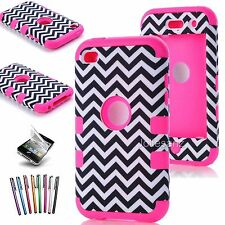DELUXE 3 PIECE HARD CASE COVER SKIN FOR IPOD TOUCH 4 4G 4TH GEN+PROTECTOR+STYLUS
