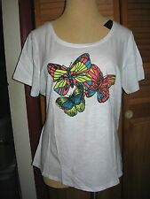 Lane Bryant Colorful Butterflies on White Short Sleeve Tee Choose Size