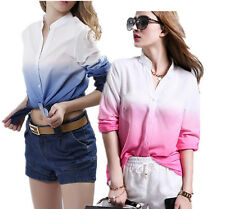 Chiffon Blouse Womens Front T Shirt Long sleeve V Neck New Work Top Hot Ladies