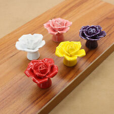 New Rose Pull Drawer Cupboard Knobs Ceramic Door Cabinet Hot Colorful Handles