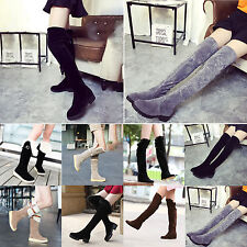 Women Over Knee High Boots Suede Ladies Winter Warm Casual Tall Shoes US 5.5-7.5