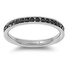 3mm Stainless Steel Black CZ Eternity Comfort Fit Band Ring Size 3-9
