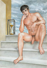 Handpainted Portrait Oil Painting Wall Art Canvas,NUDE MALE,hourglass,meditation