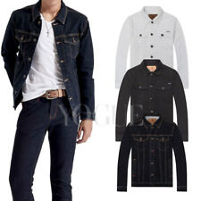 Trendy Mens Vintage Denim Jacket Autumn Winter Coat Slim Shirts Jeans Jacket