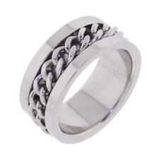 Mens Stainless Steel Polished W/Curb Chain 10mm Band Ring