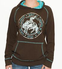 COWGIRL TUFF WOMEN'S BROWN TURQUOISE LONG SLEEVE HORSE GRAPHIC HOODIE F00288