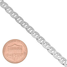 9.8mm Solid 925 Sterling Silver Beveled Flat Mariner Link Chain
