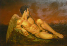 Hand-painted male Portrait Oil Painting Wall Art on Canvas,Gay art naked ANGEL
