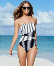 Anne Cole Size 6 or 8 Bandeau Halter 1PC Maillot Swimsuit Blk & Wht Striped NWT