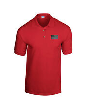 USA Blacked Out Military Flag EMBROIDERED Red Polo Shirt