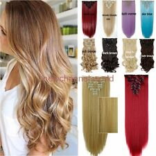 8Pcs Full head clip in Hair Extensions Curly Thick Long Straight as remy hair M4