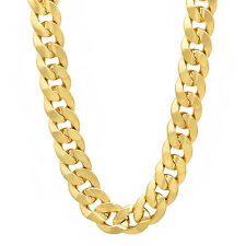 Men's 10mm 14k Yellow Gold Plated Miami Curb Link Chain Cuban Link Necklace