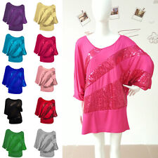 Lady Sequin Women's Sparkle Glitter Tank Loose Batwing Sleeve Top T-Shirt Blouse