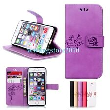 Flower Pattern PU Leather Card Slot Wallet Protective Flip Case Cover for iPhone