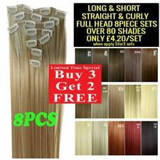 "Hair Extensions 22"" 8PC Full Head Clip in Straight Long Cheap Feels Human"
