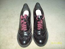 CLARKS NArRATIVE BLACK PATENT LEATHER HEELED BROGUES size 5.5 vgc