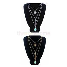 Boho Women Vintage Silver Gold Turquoise Multi-Layer Chain Pendant Long Necklace