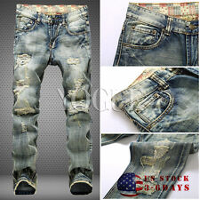 Fashion Mens Distressed Ripped Jeans With Holes Acid Washed Vintage Denim Pants