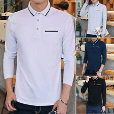 Fashion Mens Slim Fit Casual Long Sleeve Polo Shirts Tops T-shirt Tee Shirt EL