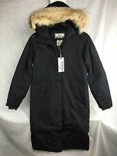 NEW WOOLRICH WOMENS LONG PATROL PARKA BLACK XS- XXL DOWN JACKET COYOTE RUFF WARM