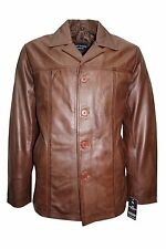 Mens 4010 Brown Classic Hip Length Coat Real Lambskin Nappa Leather Jacket