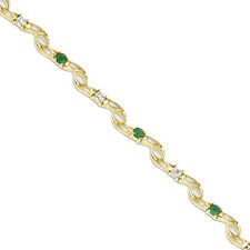 14k Yellow Gold Squiggly Emerald and Diamond Bracelet- 3.78 Grams