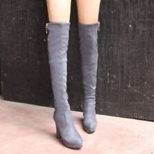 Winter Womens Block High Heels Shoes Knee High Boots Faux Suede Platform Slouch