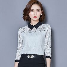 Retro Women Sexy Lace Stitching Long Sleeve Casual Career OL Blouse Shirt Tops