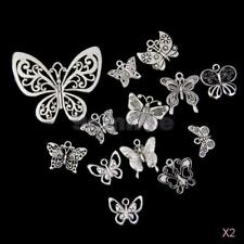2x 13Pcs Tibetan Silver BUTTERFLY Pendants CHARMS Beads Findings 22-58mm