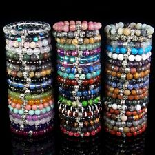10mm Natural Stone Beads Halloween Skull Stretchy Reiki Chakra Energy Bracelet