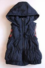 ZARA GIRL Navy Floral Lined Sleeveless Hooded Puffer Jacket Vest Size S 122cm